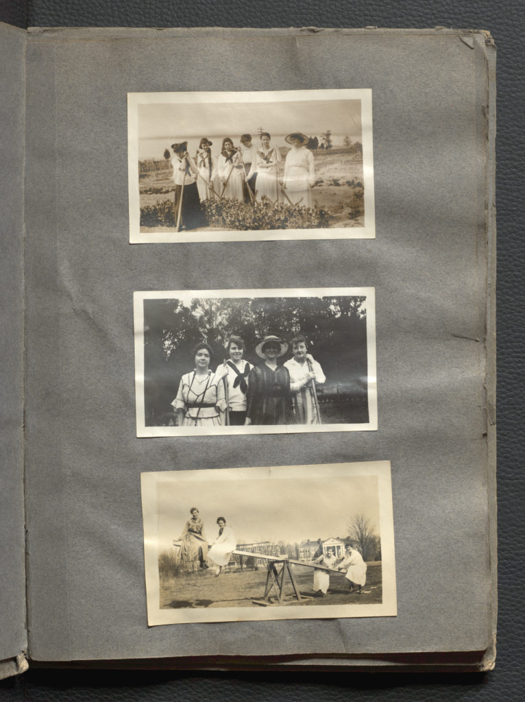 Three photographs of students engaged in various activities.