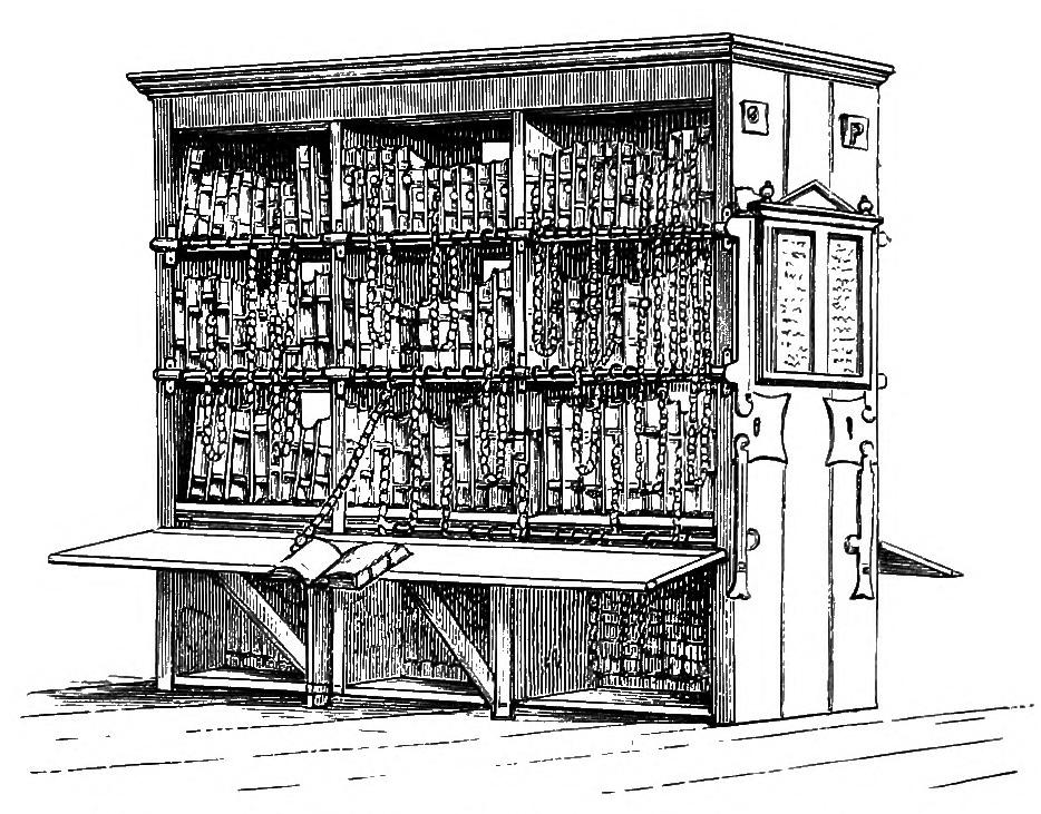 Drawing of the chained library in Hereford Cathedral