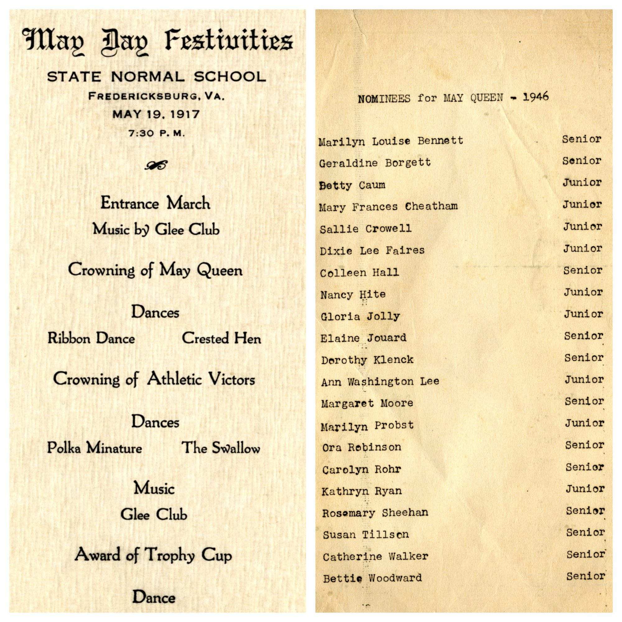May Day Program, 1917 and list of student nominees