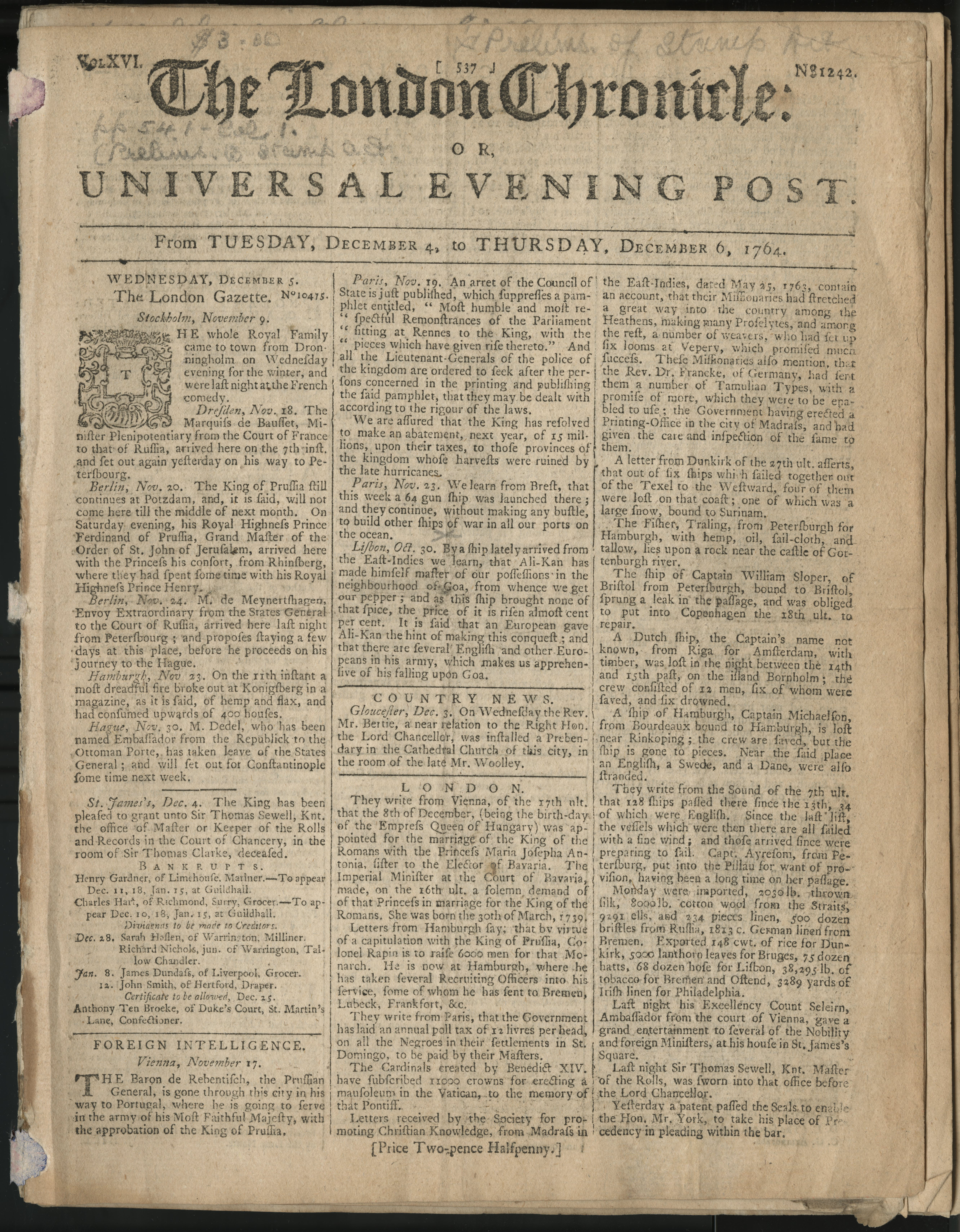 The London Chronicle, December 4 - 6, 1764