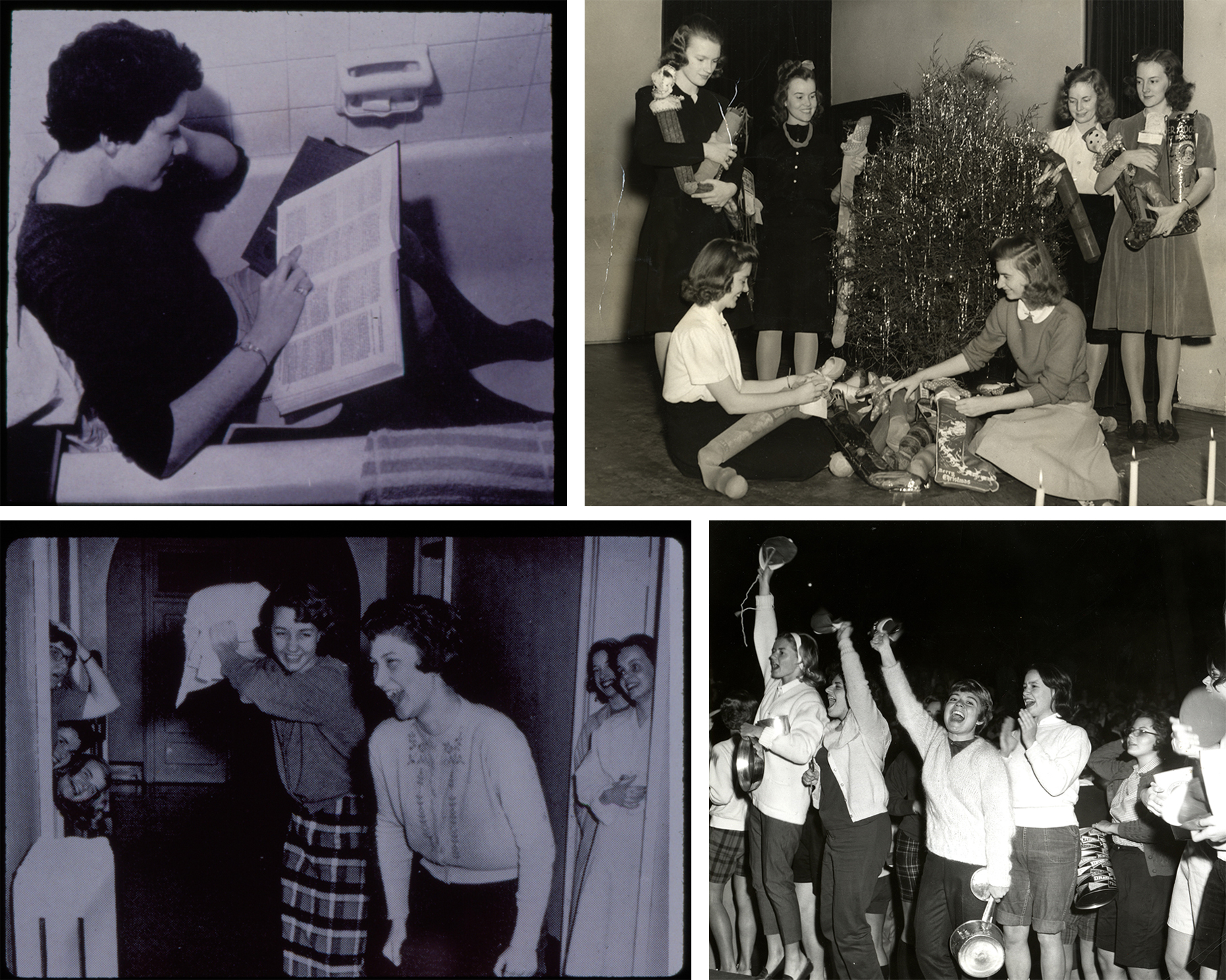 Figure 3. From top left to bottom right: 1958, a student reads in a bathtub; 1942, students stuff Christmas stockings; 1962, a pillow fight; 1963, students get rid of their beanies. https://umw.access.preservica.com.