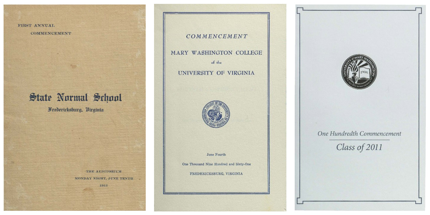 Collage of commencement program covers from 1912, 1961, and 2011.