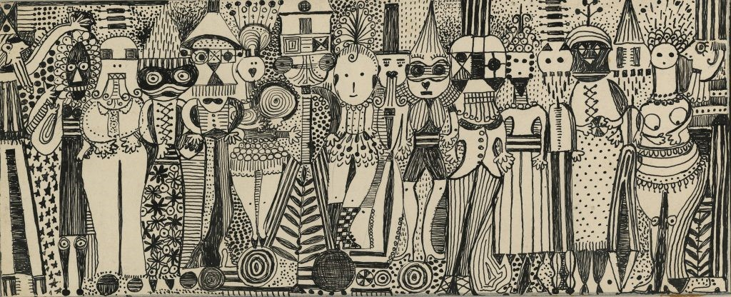 A scanned image of a work of art by Margaret Sutton in the 1950's. It shows seventeen costumed figures and the medium is ink on board.