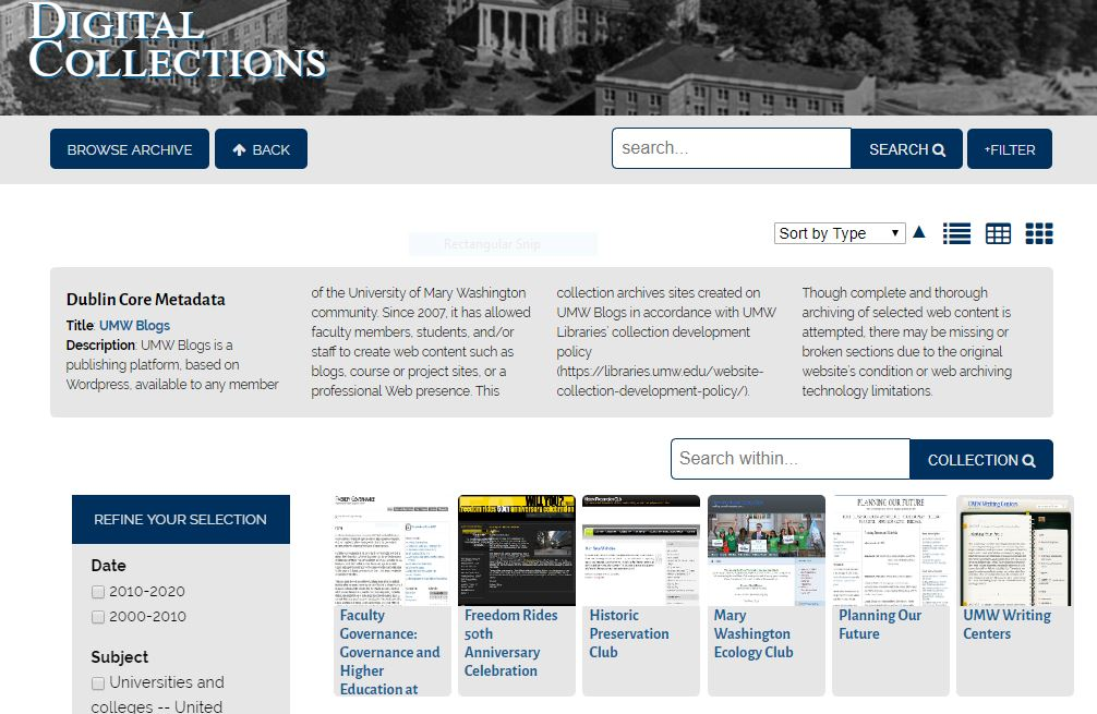 Screenshot of the library's digital collections page, featuring thumbnails of six different UMW Blog sites that have been archived.