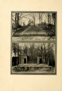 """The Amphitheatre wascompletedinMay, 1923, and that year graduation moved from Monroe Hall to the """"Open Air Theatre"""". The Battlefield,, 1923"""