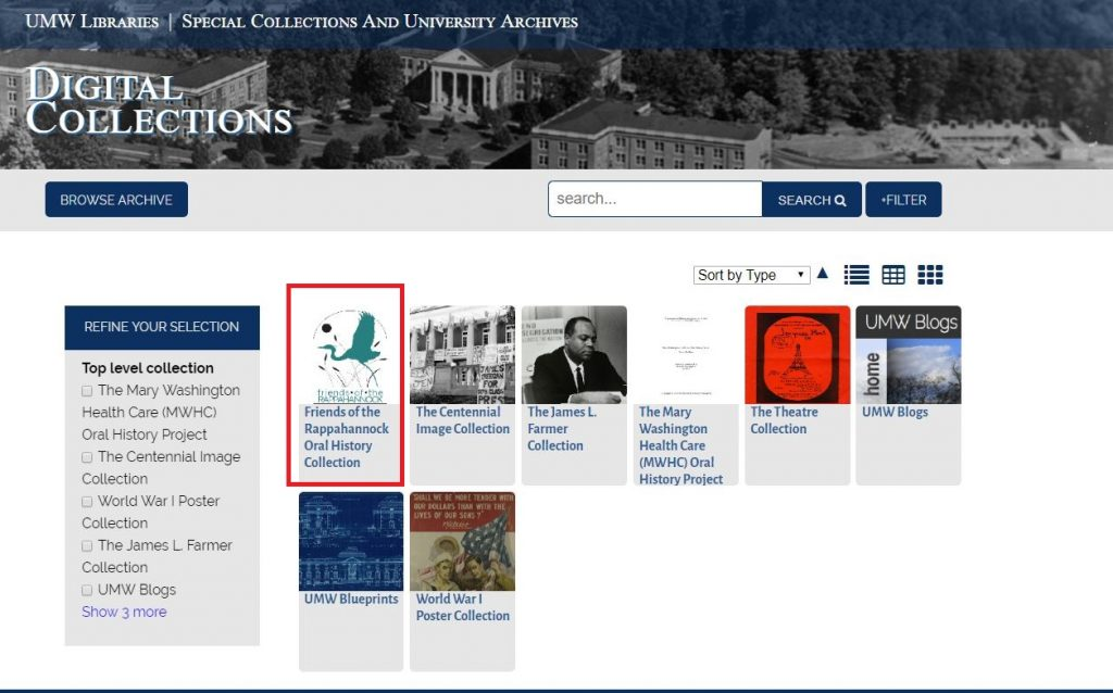 """Screenshot of the Digital Collections """"Browse Archive"""" page, showing all of the digital collections in the system. The Friends of the Rappahannock Oral History Collection is enclosed in a red box."""