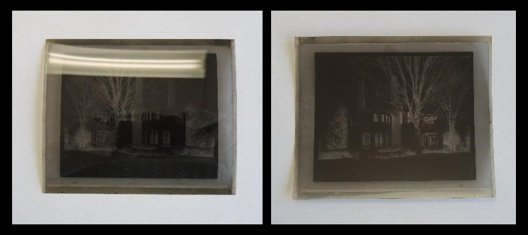 Two photographs side-by-side. The left photograph shows the front side of a 4 inch by 3.4 inch film negative and the right photograph shows the reverse side of the negative. It is possible to see that the negative is an image of Belmont.