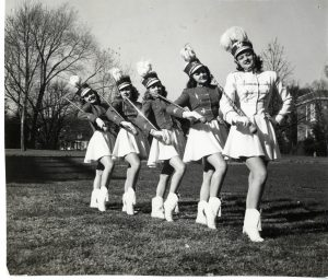 All Girl Marching Band Members. From left to right: Phyllis Maddox, Jean Hawkins, Catherine-Rae Capizola, Maryanne Heatwole, and Marceline Weatherly (Morris), c. 1940s