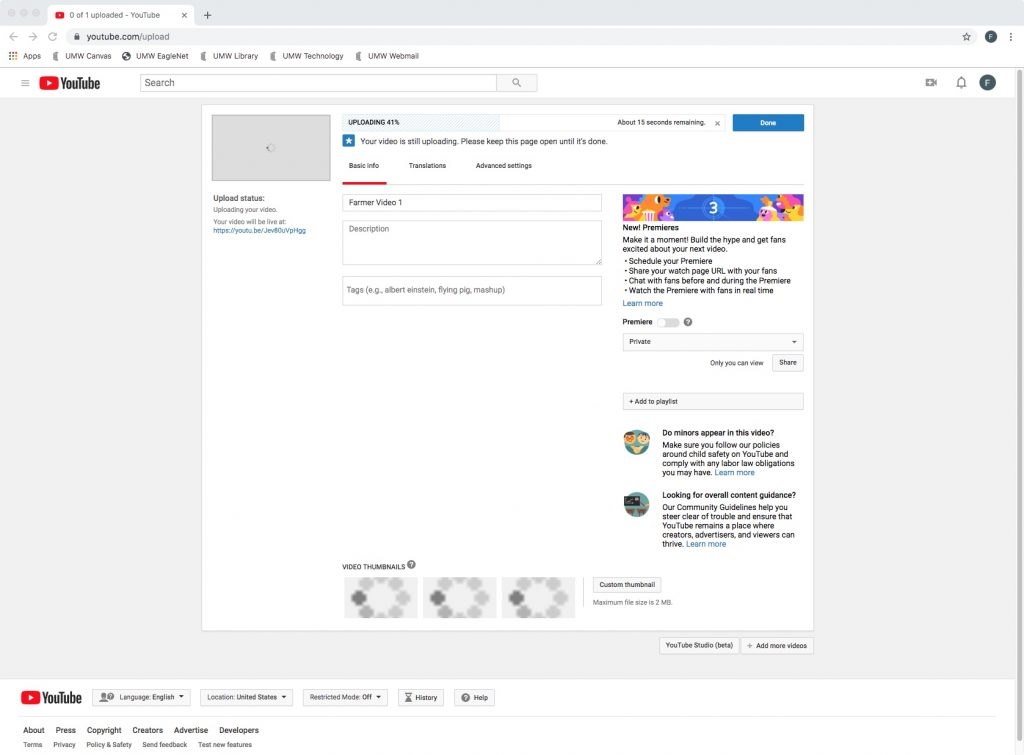 Screenshot of YouTube showing a video is being uploaded, as referenced in Step 1.