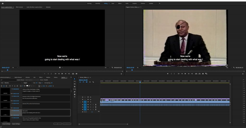 Screenshot of Adobe Premiere Pro in which captions of a video are being edited, as referenced in Step 3.