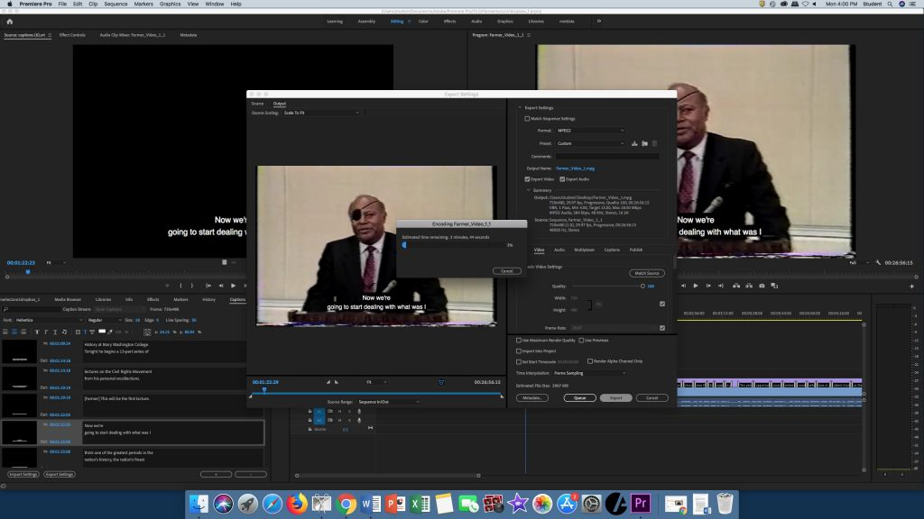 Screenshot of Adobe Premiere Pro depicting a video being exported as referenced in Step 4.