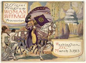 Woman Suffrage Procession Program Cover showing a trumpeter on a white horse with the US Capitol in the background, 1913