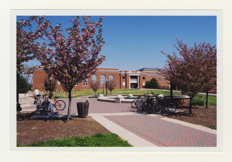 A photograph of the Fitness Center on a sunny day, taken from campus walk near Jepson Hall.