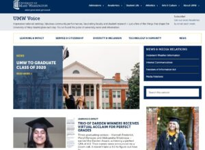 Screenshot of the UMW News web page from May 15, 2020