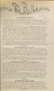 Front page of The Bullet, Student newspaper), October 23, 1942