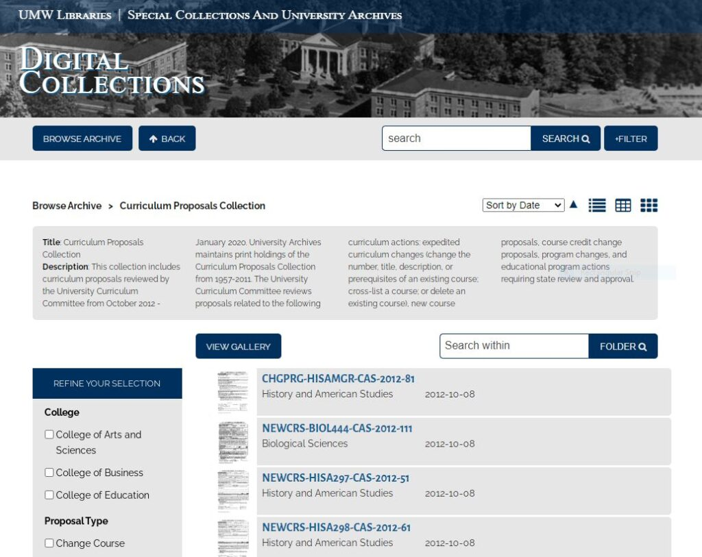 Screenshot of the Curriculum Proposals Collection in UMW Archive's digital collection database.