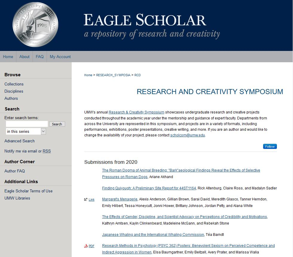 Screenshot of the Research & Creativity Symposium home webpage in the Eagle Scholar repository.