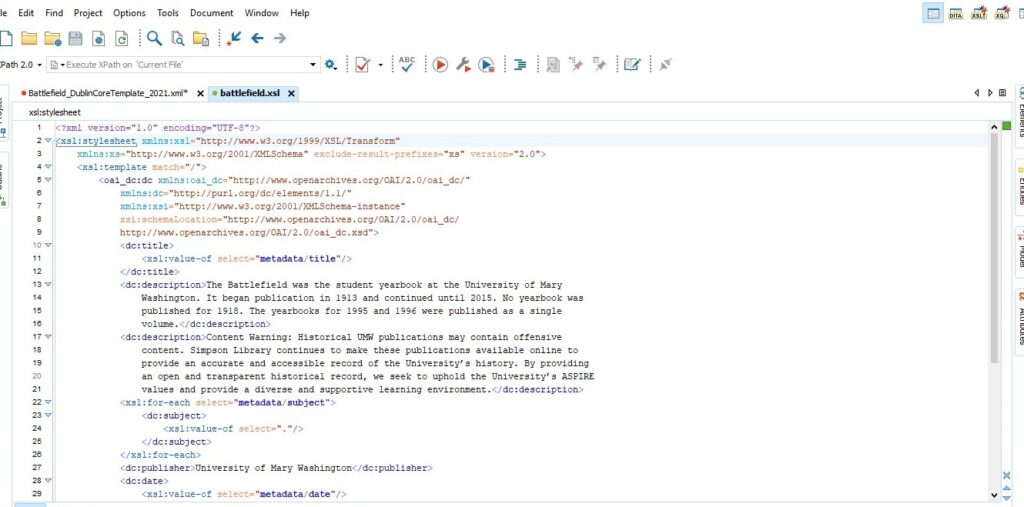Screenshot of an XSL transformation file opened in the Oxygen XML software program, displaying the Dublin Core elements in angle brackets and the transformation directions for creating the content for each element.