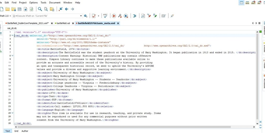 Screenshot of an XML file opened in Oxygen XML Editor software. Metadata elements, which are in angle brackets, and their associated content are listed.