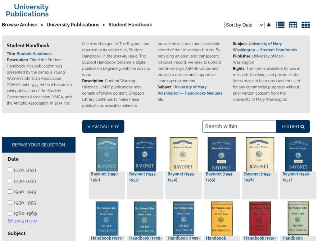Screenshot of a digital collection web page, with a gray box containing bolded metadata categories and descriptive information about the collection. Thumbnails of 12 publication covers with titles and dates are listed below the gray metadata box. Facets allowing refinement by decade display in a gray box to the left of the thumbnails.