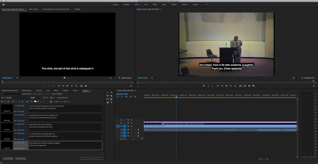 A screen capture of the captioning process in Adobe Premiere software. A small box displaying the video is in the top right corner, and the bottom includes the caption text and timings.