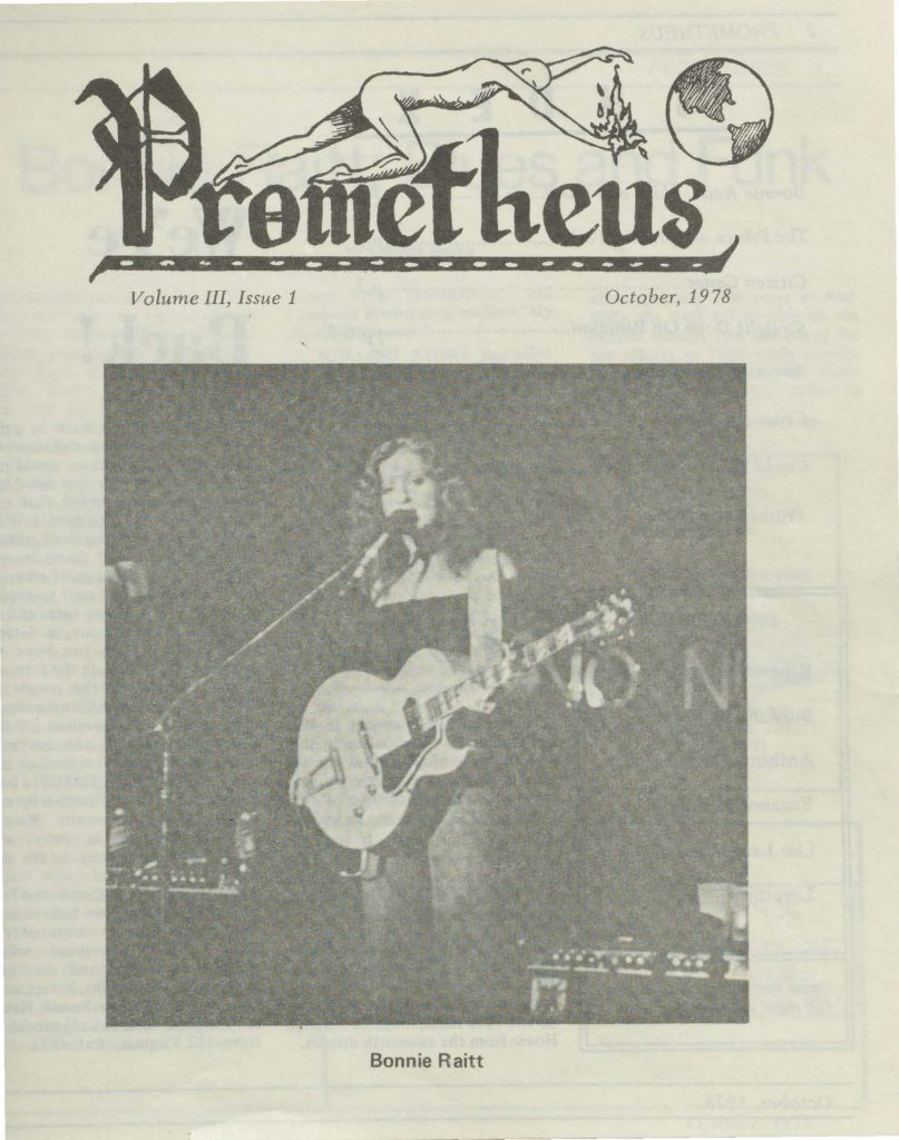Cover page of a Prometheus newspaper issue, displaying the newspaper header at the top and a large photograph of Bonnie Raitt performing on stage.