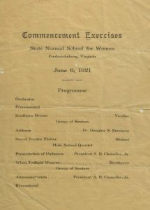 100 years ago this single page document was the Commencement Program.