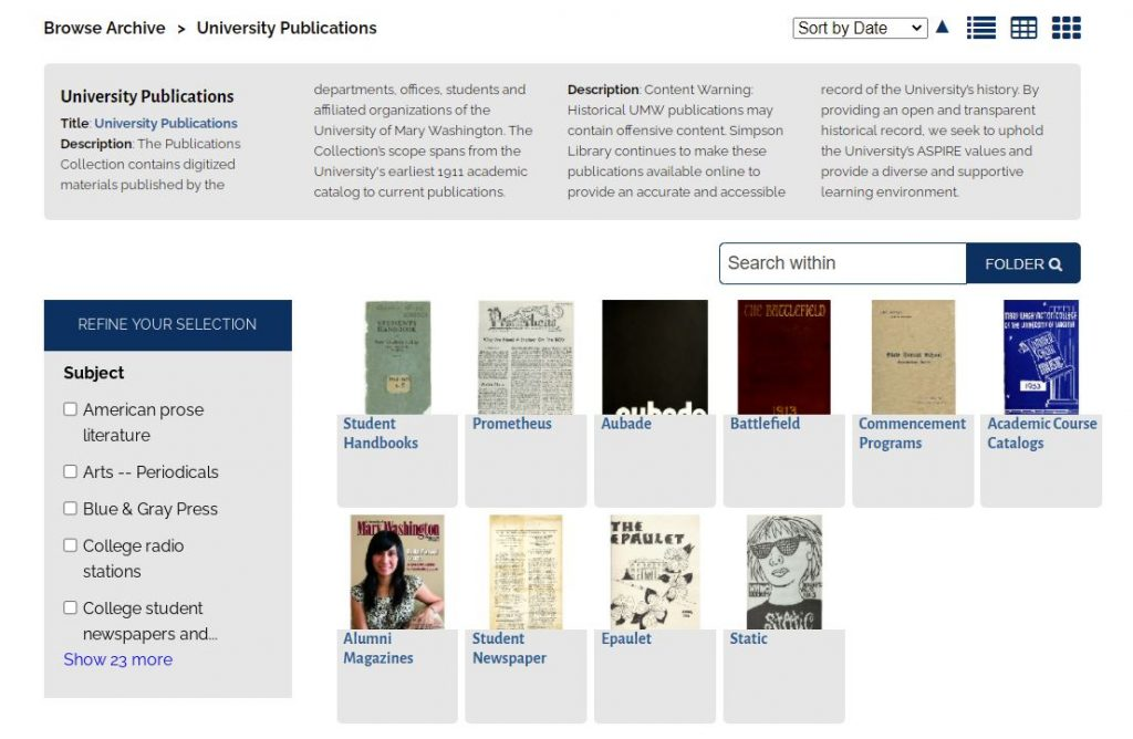 Screenshot of the University Publications digital collection. Ten sub-collections, representing ten individual publications, are displayed.