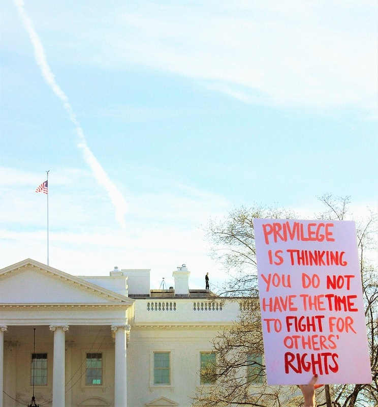 """Image of a protest sign held up in front of the White House. The sign reads """"privilege is thinking you do not have the time to fight for others' rights."""""""